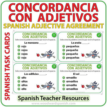 Spanish Adjective Agreement Task Cards By Woodward Education Tpt