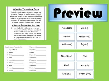 Spanish Adjective Cards and Vocabulary List