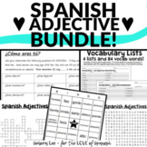 Spanish Adjectives Bundle - Word Search, Crossword, Bingo,