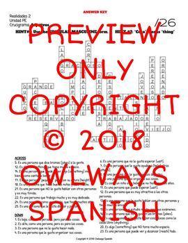 Spanish Adjective Crossword Puzzle - Realidades 2 Para Empezar