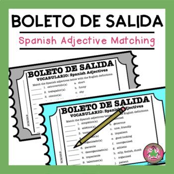 Spanish Adjective Match Exit Slip