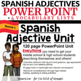 Spanish Adjective PowerPoint & Vocabulary Lists (Special Order for Erika)