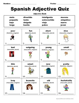 Spanish Adjective Quiz