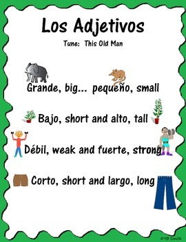Spanish Adjective Song
