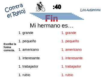 Spanish Adjective Writing Activity, Powerpoint