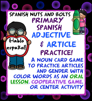 Spanish Adjective and Article Practice Game for Primary Students