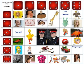 Spanish Adjective or Color Board Game