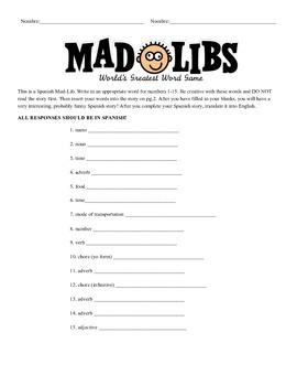 Spanish Adjective/Adverb Mad Lib Activity