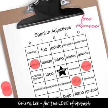 Spanish Adjectives BINGO Los Adjetivos Descriptivos