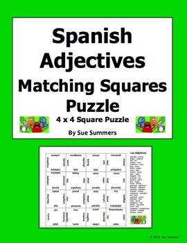 Spanish Adjectives 4 x 4 Matching Squares Puzzle - Los Adjetivos