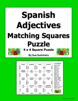 Spanish Adjectives 4 x 4 Matching Squares Puzzle - Los Adjetivos