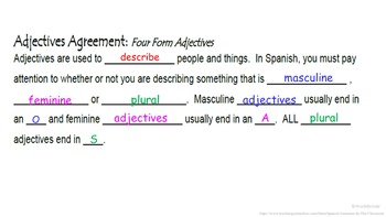 Spanish Adjectives (Agreement and Placement): Spanish Quick Lesson