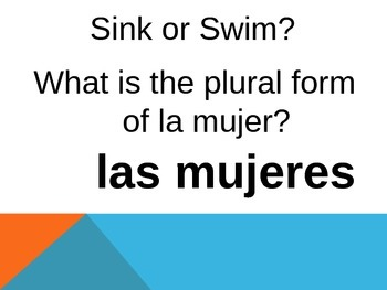 Spanish Adjectives, Articles, and Tener Review Game