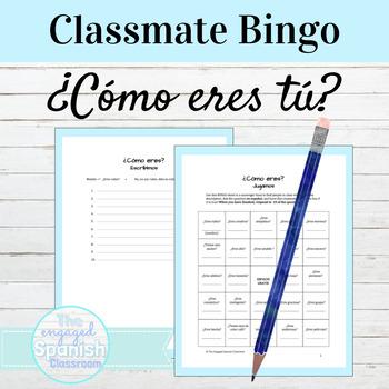 Spanish Adjectives BINGO game and Writing activity: Los adjetivos