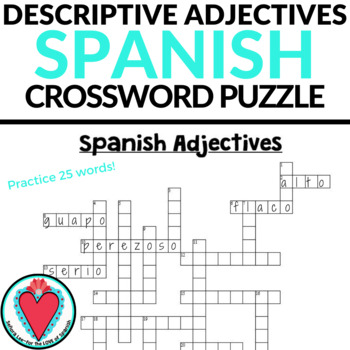 Spanish Adjectives CROSSWORD Los Adjetivos