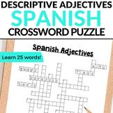 Spanish Adjectives - Spanish Crossword Puzzle - Los Adjetivos
