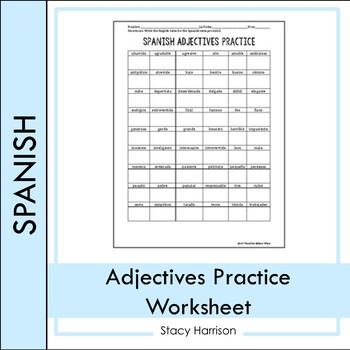 Spanish Adjectives Chart #2
