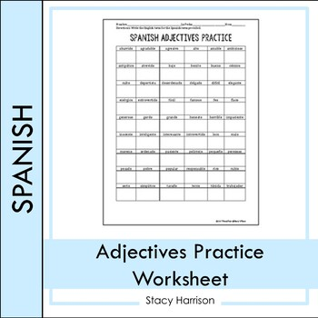 Spanish adjectives practice teaching resources teachers pay teachers spanish adjectives practice spanish adjectives practice fandeluxe Images