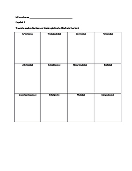 Spanish Adjectives Draw And Translate Grid By Mr D S Teacher Store