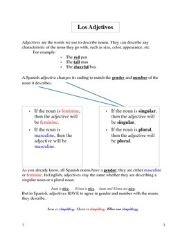 Spanish Adjectives Explanation note set