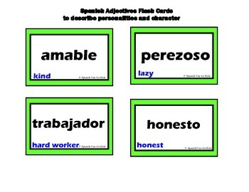 Spanish Adjectives Flash Cards
