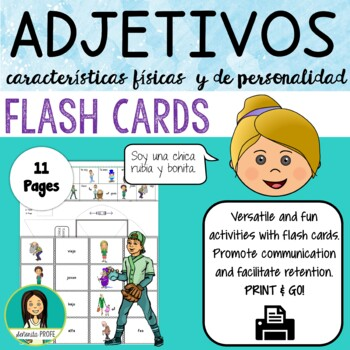 Spanish Physical Adjectives / los adjetivos Flash Cards