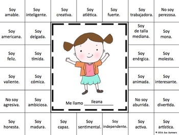 Spanish Adjectives Grid and Sketch