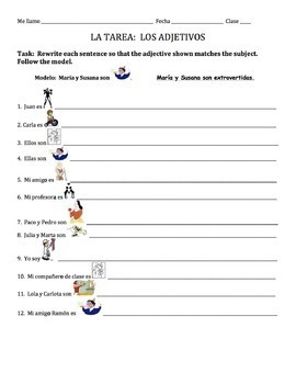 Spanish Adjectives Homework 2 - all forms