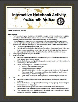 Hunger Games Theme - Ser and Adjective Spanish Lesson for Interactive Notebooks