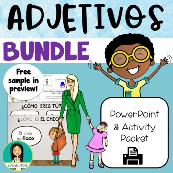 Spanish Adjectives Interactive Notebook, Flash Cards & PowerPoint Bundle