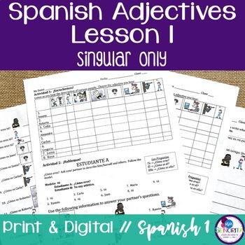 Spanish Adjectives Lesson 1 - singular only