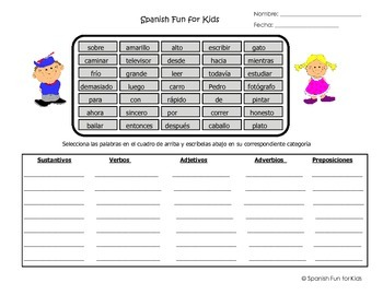 Spanish Adjectives, Nouns, Verbs, Adverbs and Prepositions Work Sheets