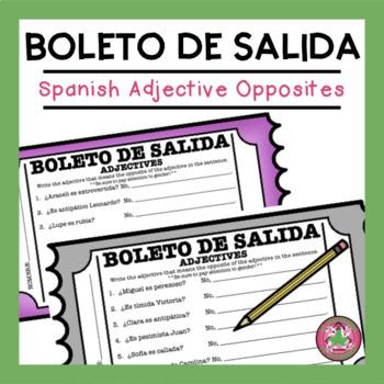 Spanish Adjectives Opposites Exit Slip