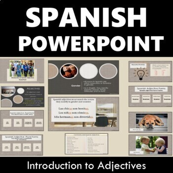Introduction to Spanish Adjectives PowerPoint with Guided Notes