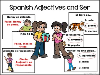 Spanish Adjectives Powerpoint, Fill in the Blank, Multiple Choice, True or False