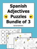 Spanish Adjectives Puzzle Bundle - Crossword, Word Search, Matching Squares