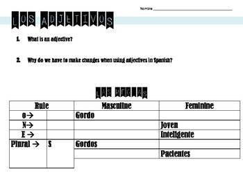 Spanish Adjectives & Ser Graphic Organizer, Communication, Games & Visuals Unit
