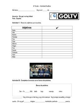Spanish Adjectives - Sin Gol, No Hay Fútbol