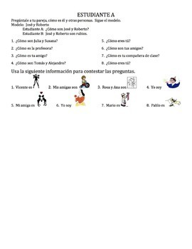 Spanish Adjectives Speaking Activity 2 - all forms