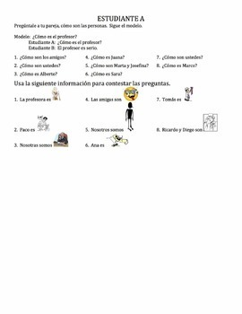 Spanish Adjectives Speaking Activity 4 - all forms