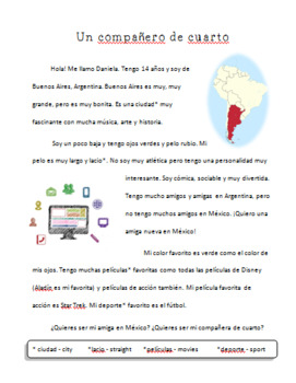 Spanish Adjectives - Un compañero de cuarto