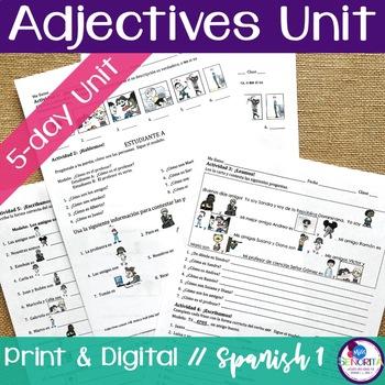 Spanish Adjectives Unit Bundle