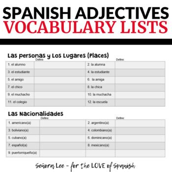 Spanish Adjectives Vocabulary Lists - Los Adjetivos Descriptivos