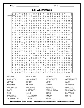 Spanish Adjectives Word Find Puzzles