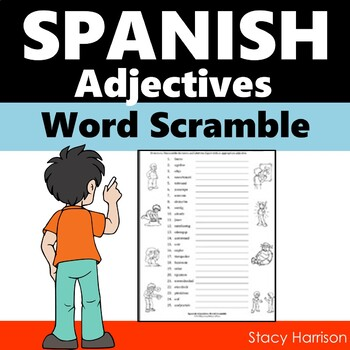 Spanish Adjectives Word Scramble