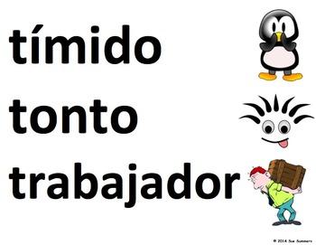 Spanish Adjectives Word Wall Classroom Signs - Los Adjetivos