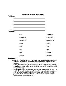 Spanish Adjectives Worksheet / Oral Exercise