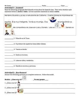 Spanish Adjectives Writing Activity 1 - singular only