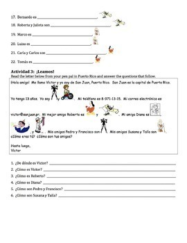 Spanish Adjectives Writing Activities 2 - all forms