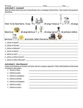 Spanish Adjectives Writing Activity 3 - singular only